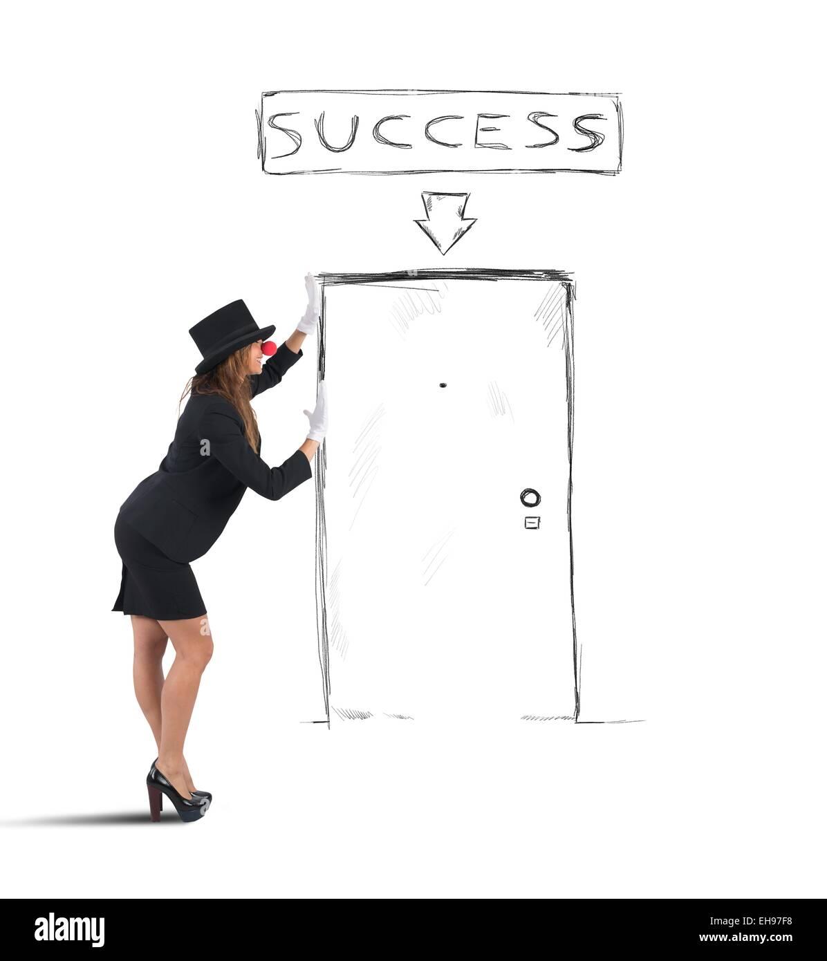 Mime businesswoman success - Stock Image