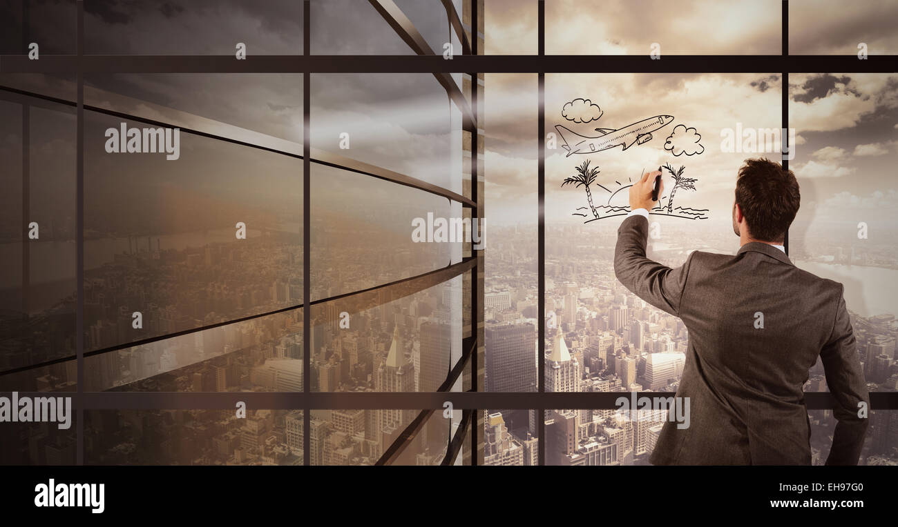 Businessman imagines holiday - Stock Image