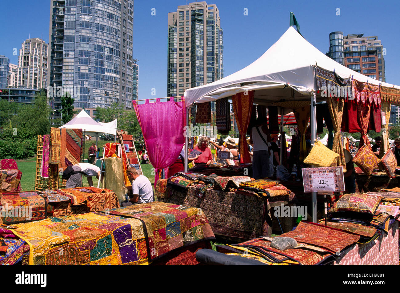 Yaletown, Vancouver, BC British Columbia, Canada - Textiles from Indonesia for Sale at Outdoor Bazaar and Market, - Stock Image