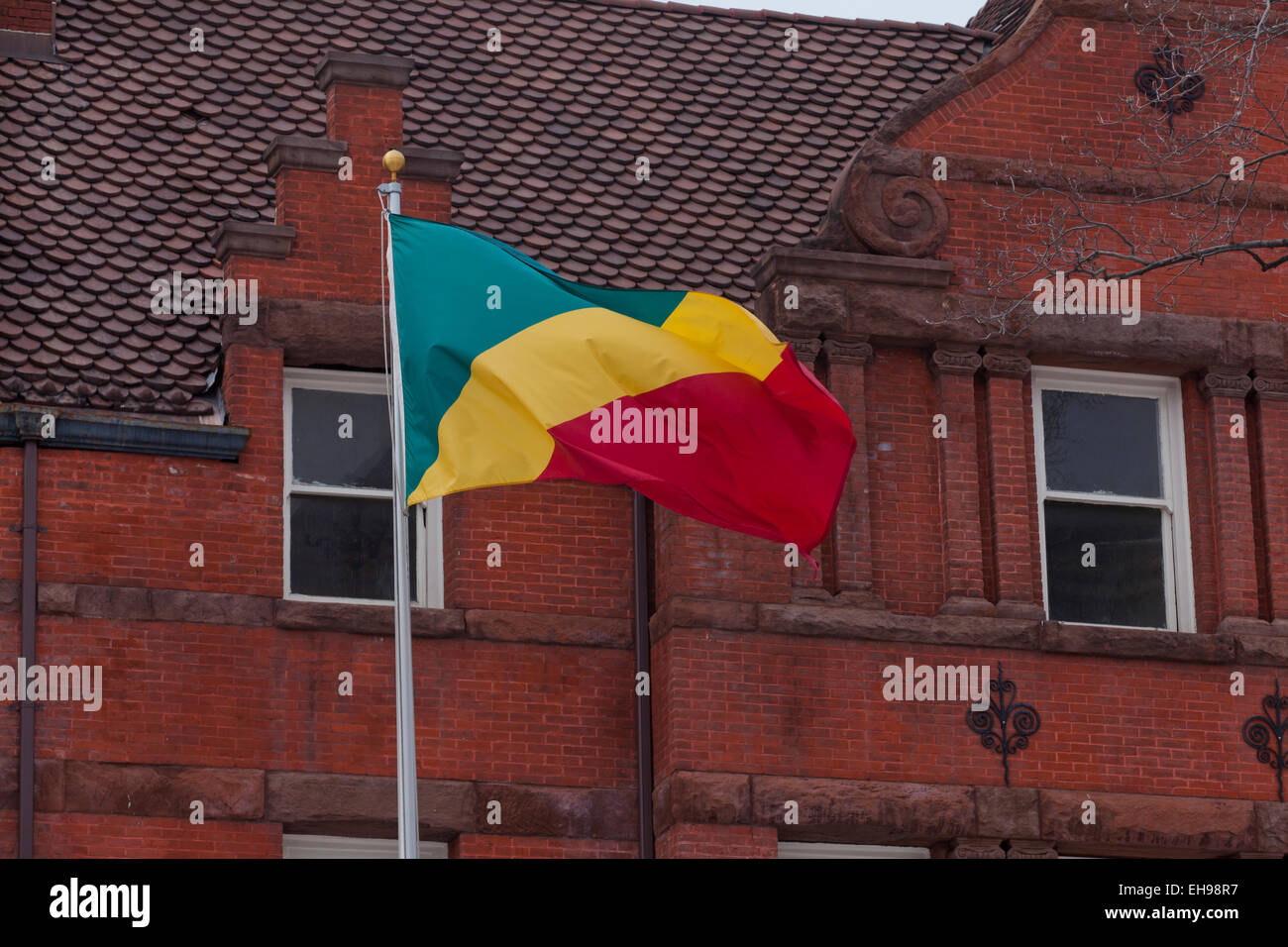 Flag in front of Embassy of the Republic of Congo - Washington, DC USA - Stock Image