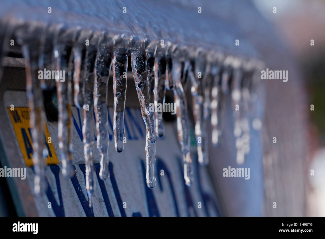 Freezing rain on car - Virginia USA - Stock Image