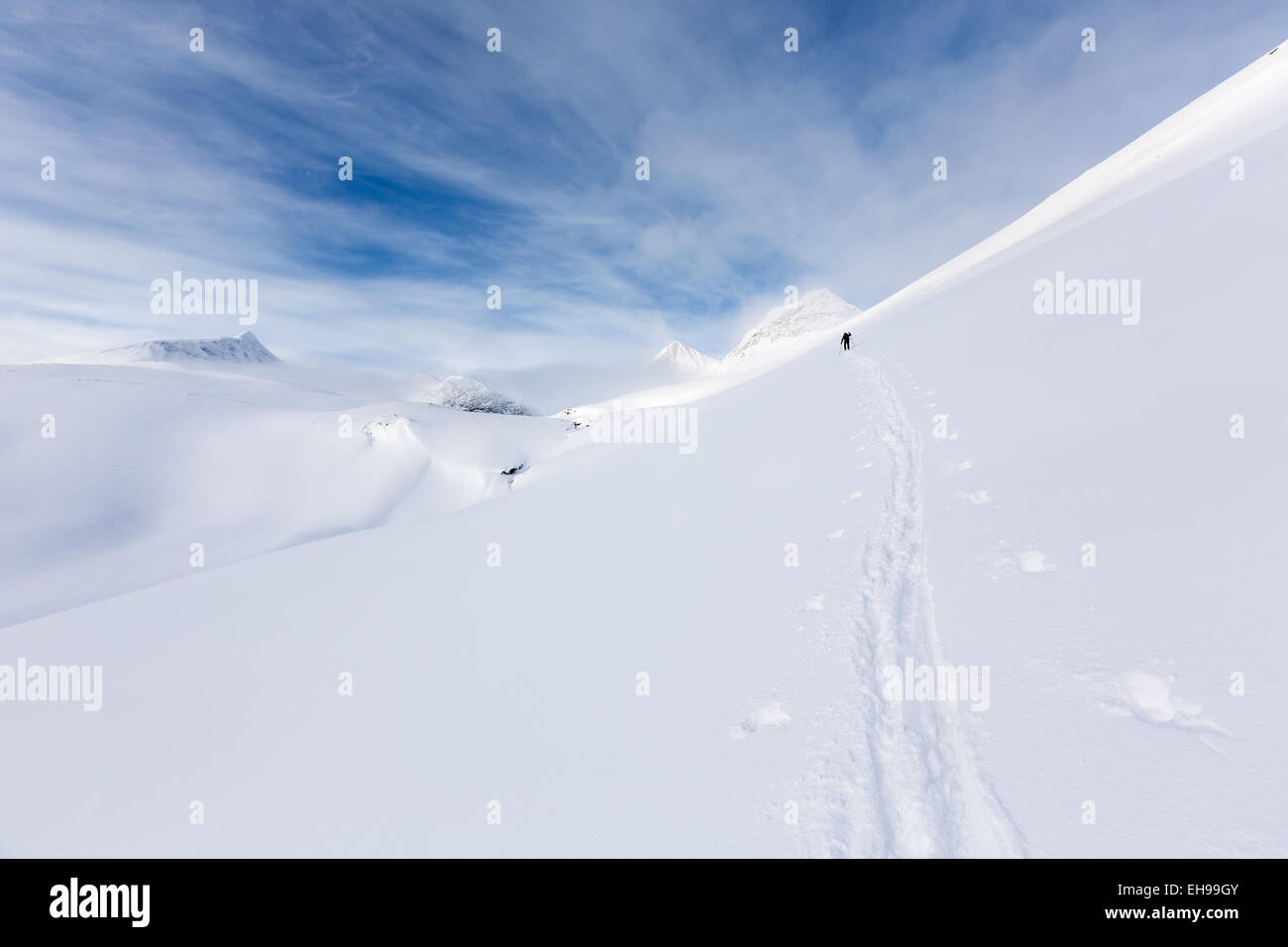 Starting the ascend from Nallostugan towards Nallo mountain, Kiruna, Sweden, Europe, EU - Stock Image