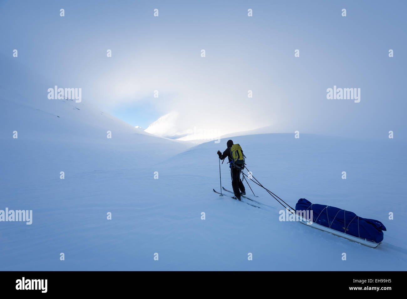 Skiing hiking near Nallostugan, Kiruna, Sweden, Europe, EU - Stock Image