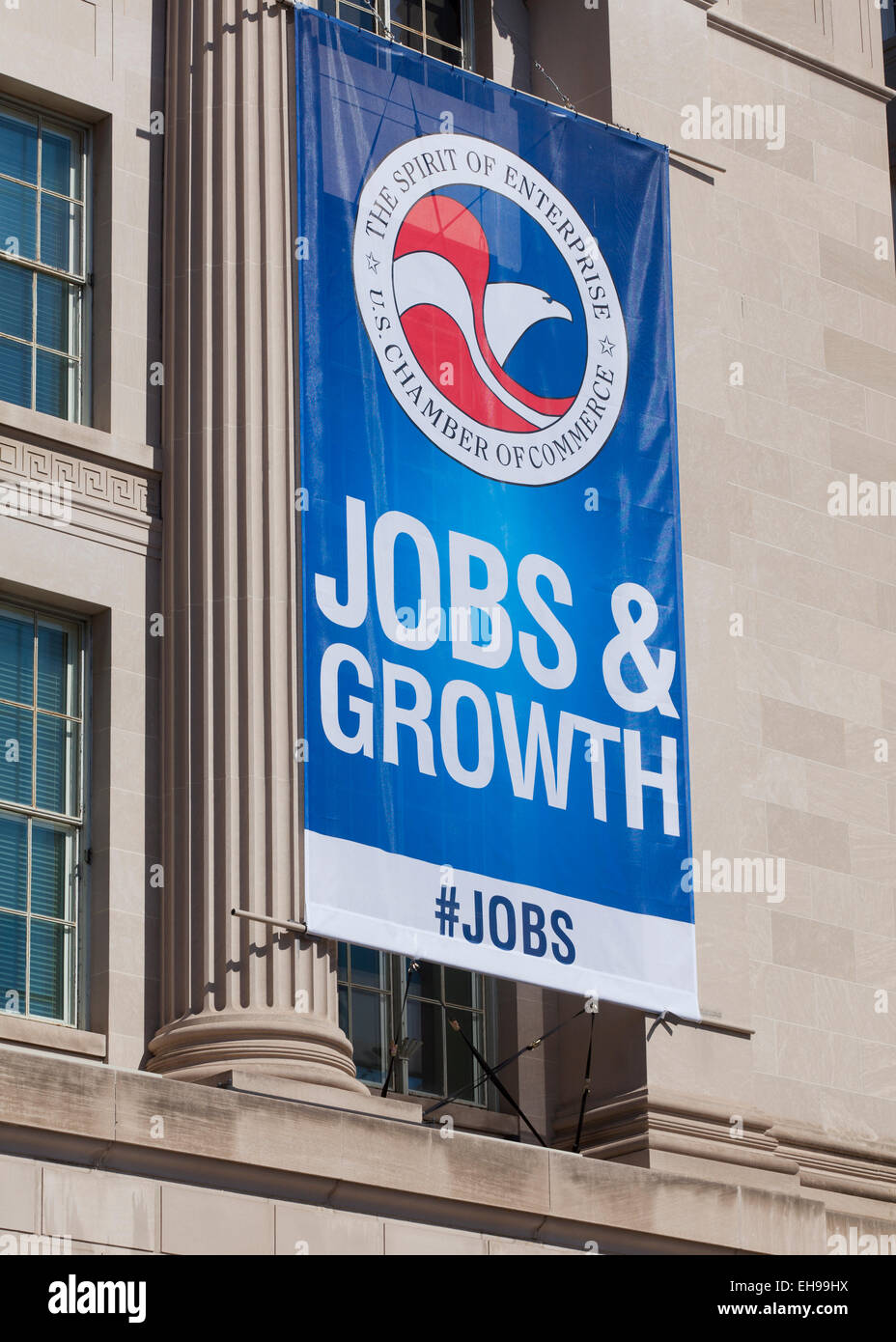 Jobs and Growth  banner on US Chamber Of Commerce Building - Washington, DC USA - Stock Image