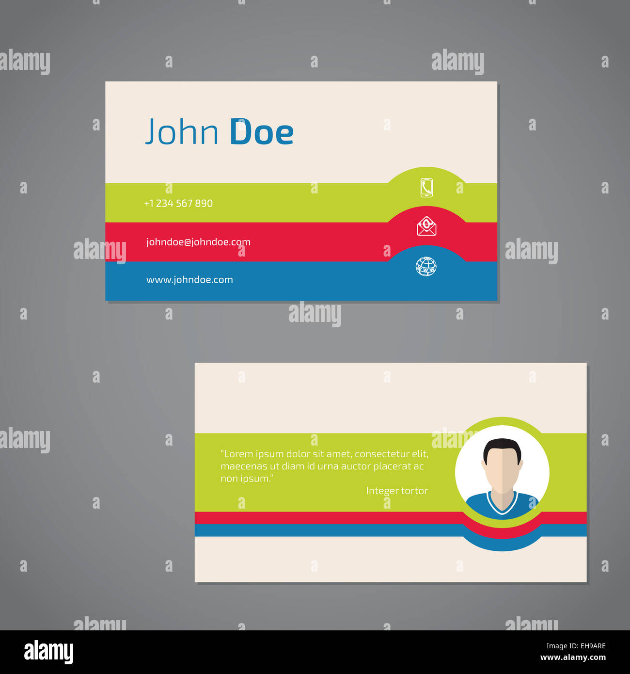 Two sided business card design with personal photo Stock Photo ...