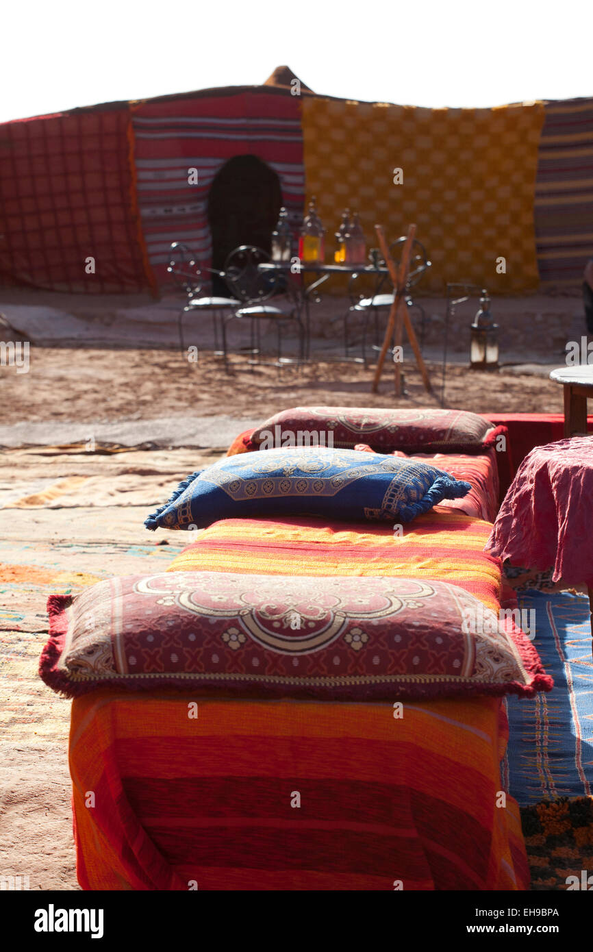 Typical Moroccan camp in the Sahara desert - Stock Image