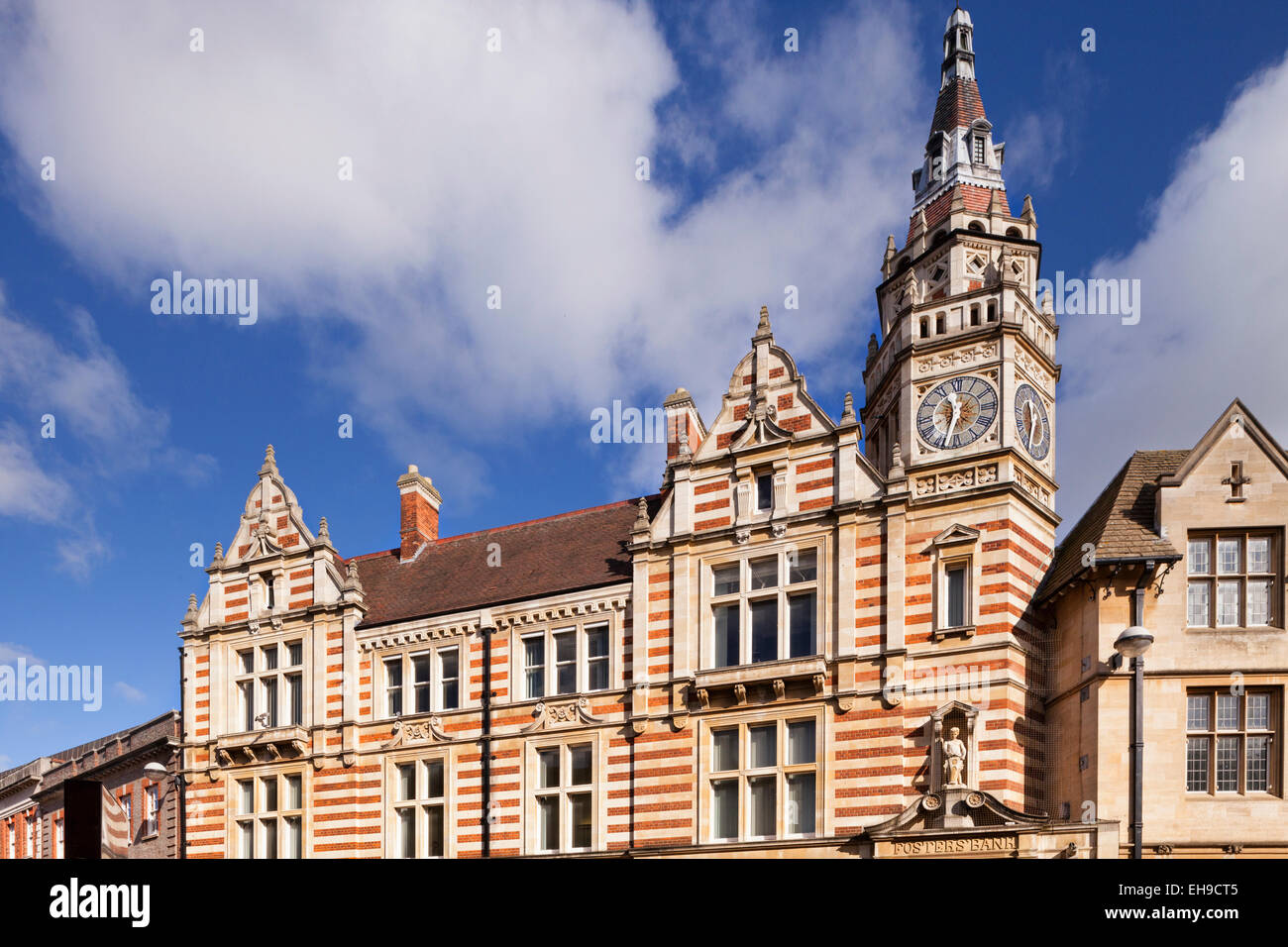 Lloyds Bank building, originally Fosters' Bank, in Sidney Street, Cambridge. The building dates from around - Stock Image