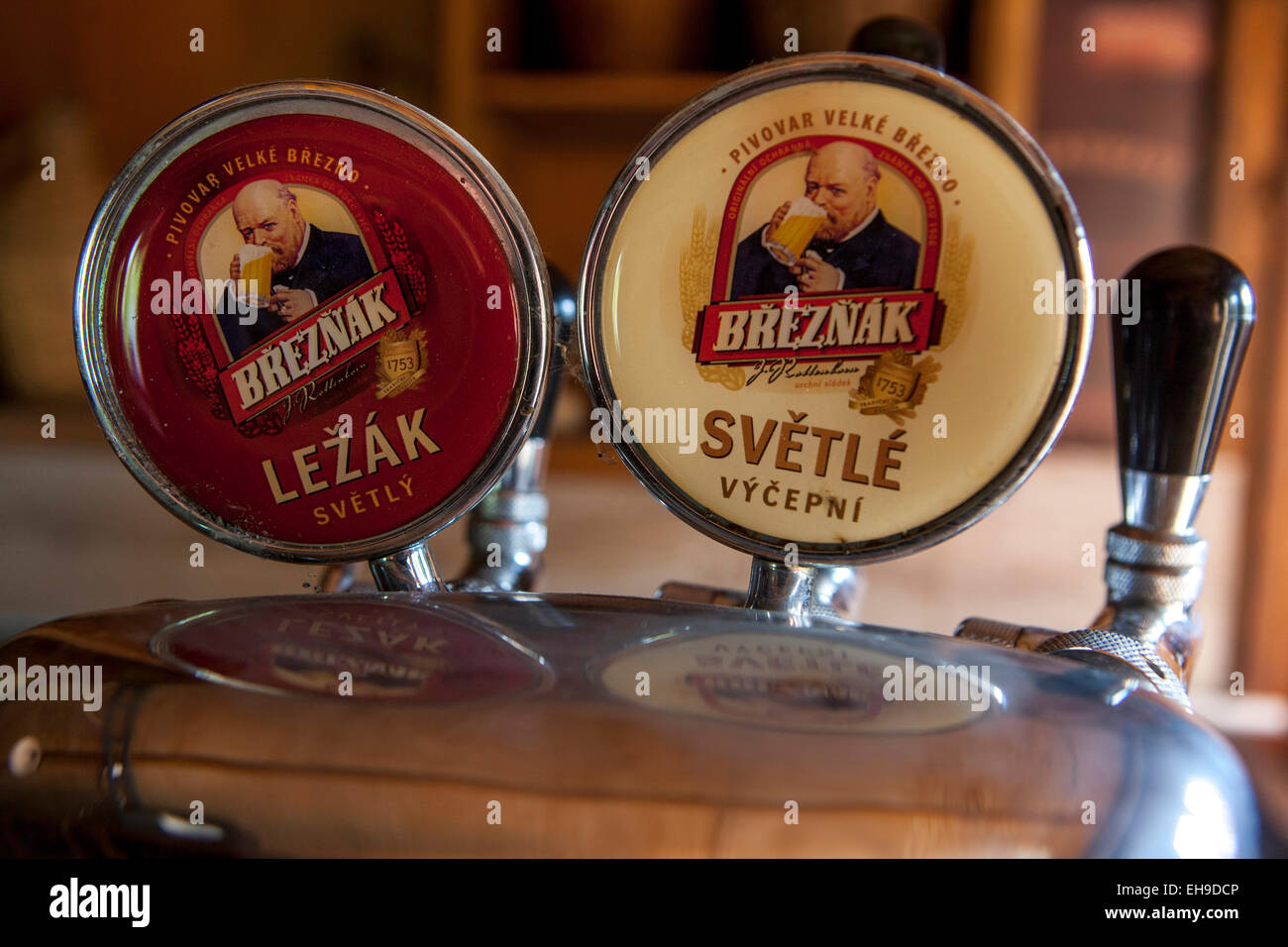 Tapping faucet Breznak Czech beer Stock Photo