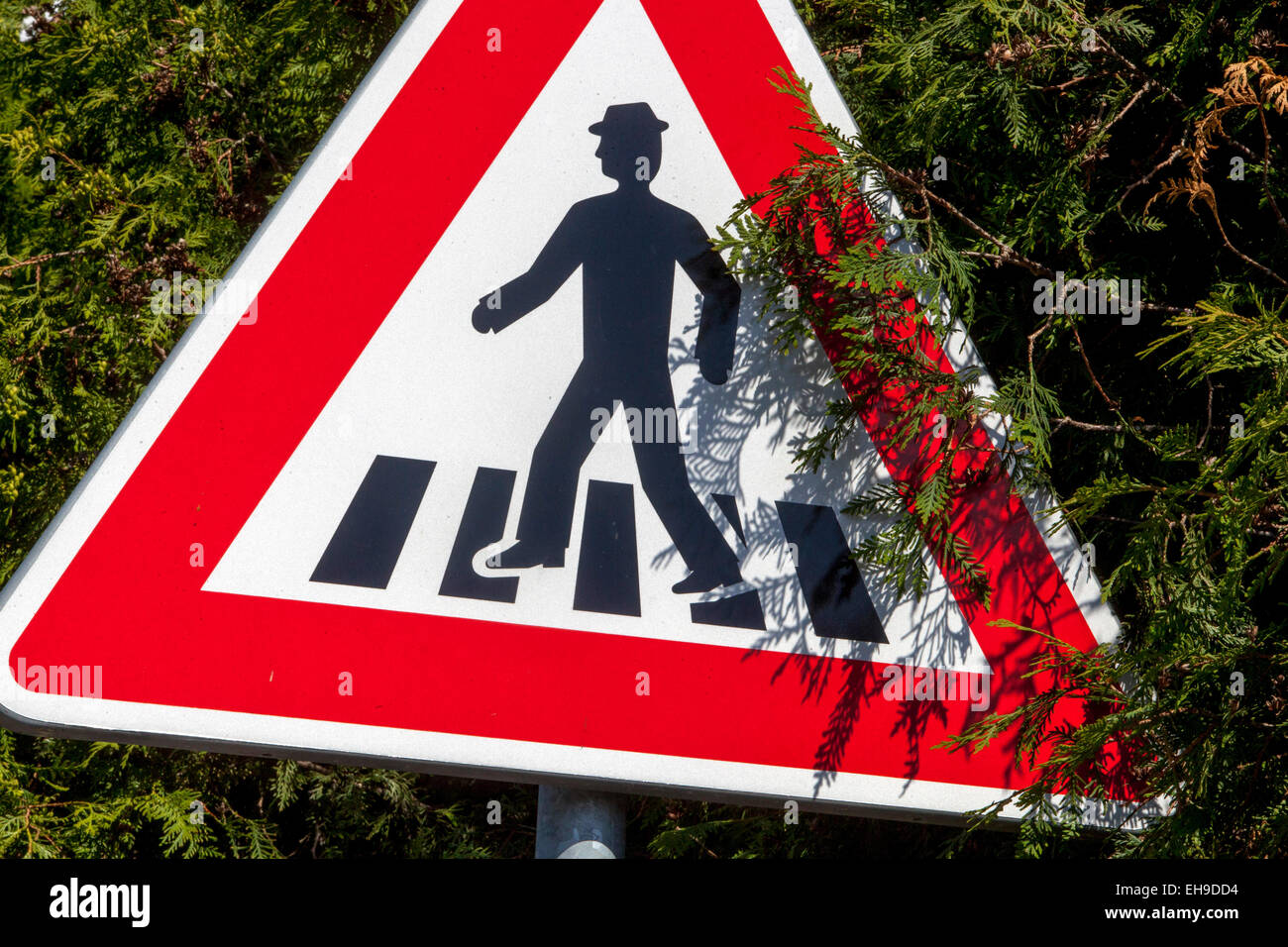 Traffic sign beware Crosswalk Czech - Stock Image