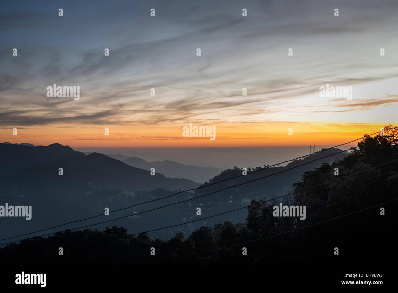 Himalayan sunset at Shimla, Himachal Pradesh, India - Stock Image
