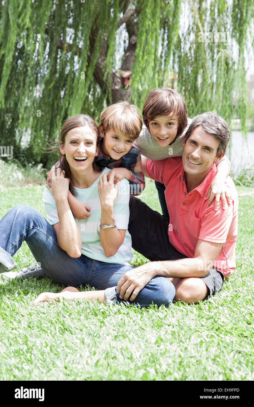Family with two children, portrait - Stock Image