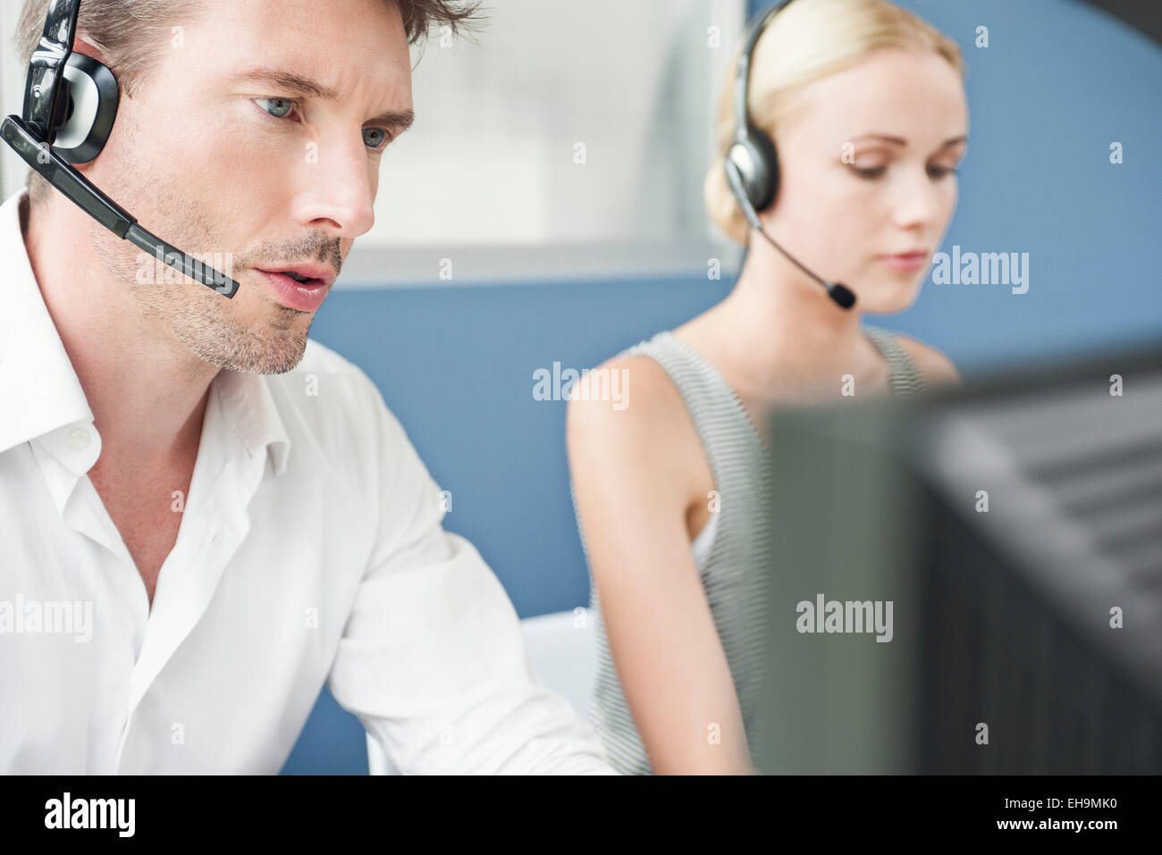 Working in call center - Stock Image