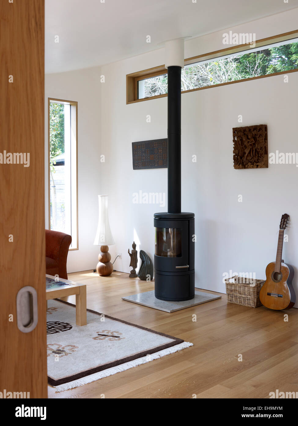 White living room with wood burner, residential house, Lloyd Close ...