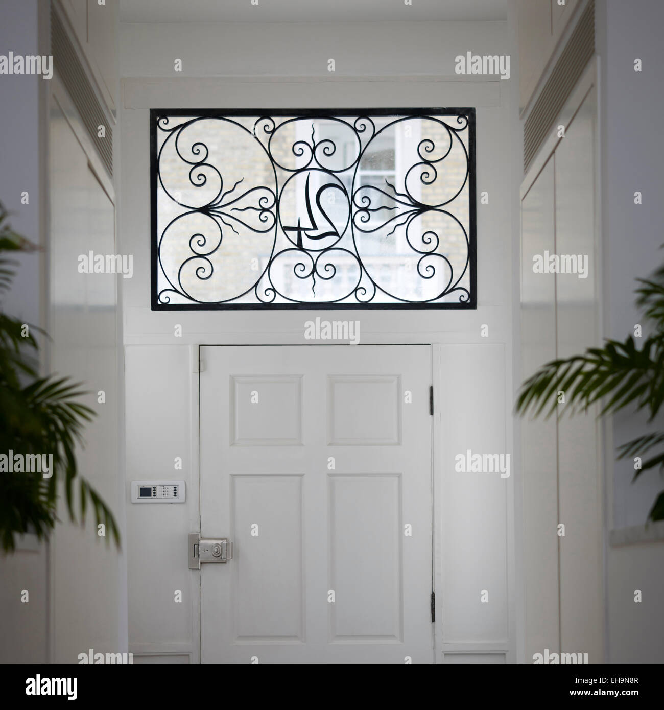 Interior View Of Ornate House Number Window Panel Above Front Door In  Cumberland Street Home, UK