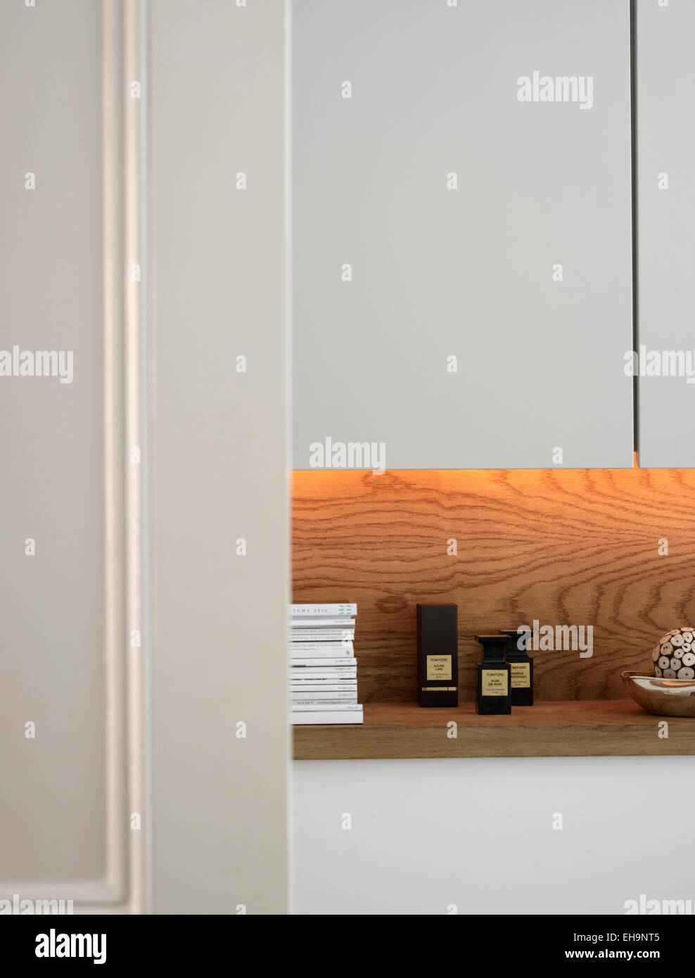 Wooden shelving detail in bathroom of Chesilton Road home, UK - Stock Image