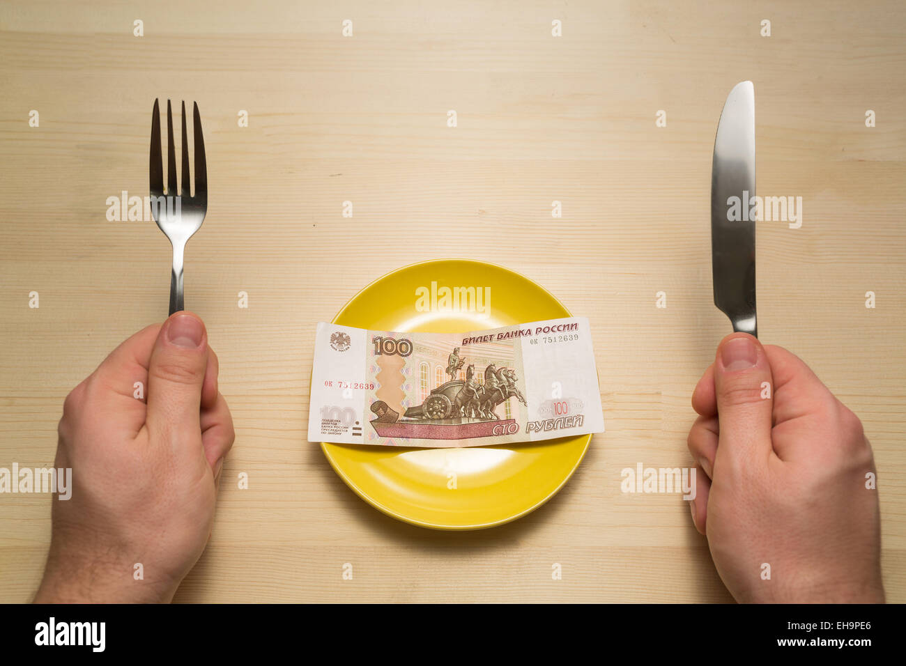 Plate with hundred rubles copyspace Stock Photo