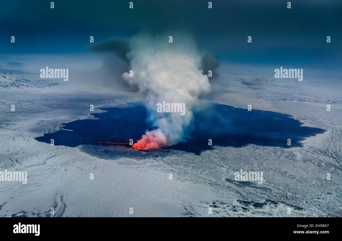 Aerial view of the volcano eruption at Holuhraun, Bardarbunga Volcano, Iceland - Stock Image