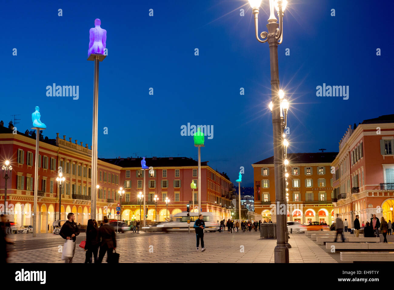 Place Massena square in the Old Town center of Nice, Provence, France, Europe - with sculpture columns which change - Stock Image