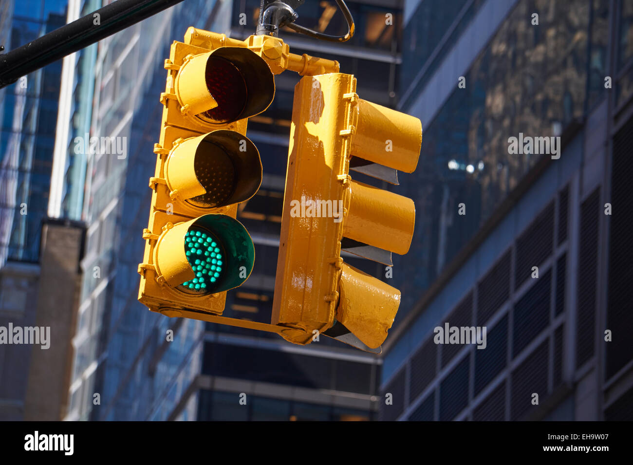 New York City traffic light signal Stock Photo