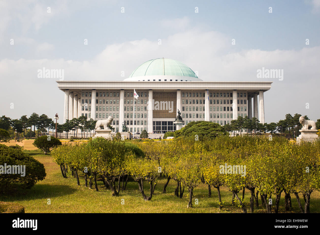 The National Assembly of South Korea on a fine autumn day - Stock Image