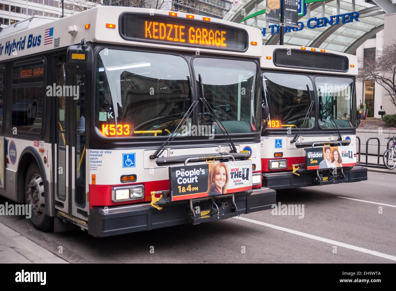 Cta buses stock photos cta buses stock images alamy chicago usa a pair of chicago transit authority cta hybrid buses outside publicscrutiny Images