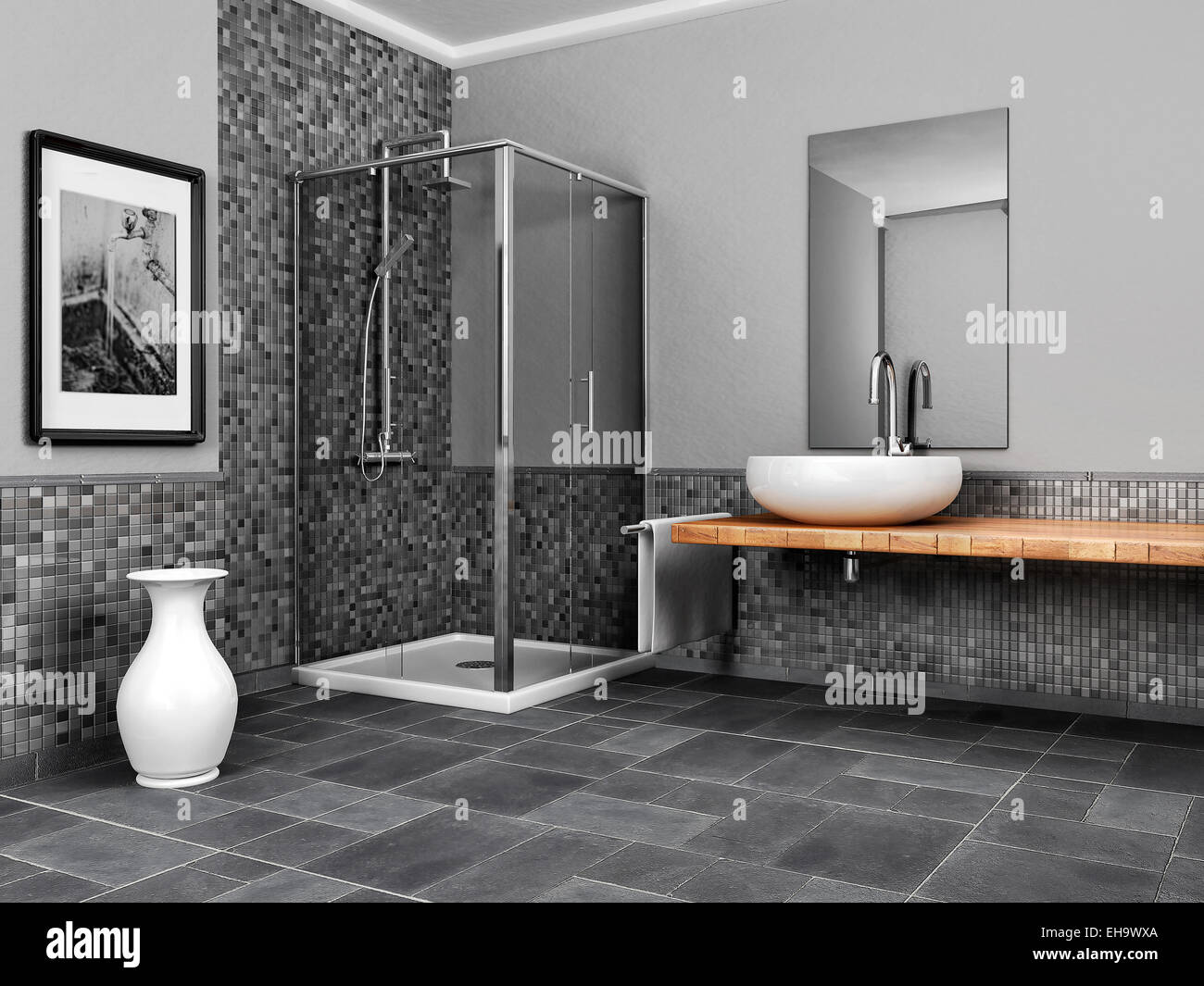 large bathroom with stone and mosaic gray tone - Stock Image