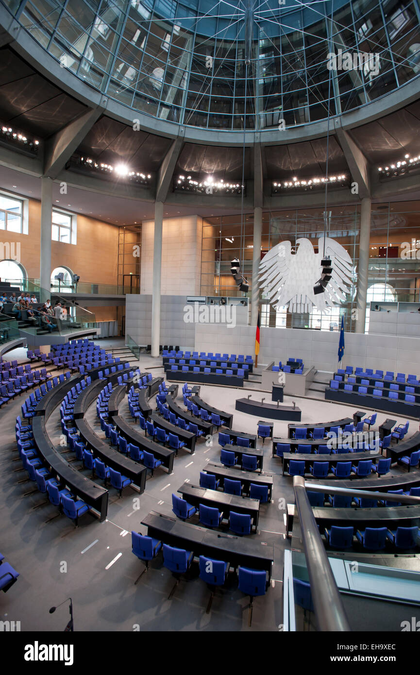 Visitor group in empty Bundestag German Parliament Berlin Germany Europe - Stock Image