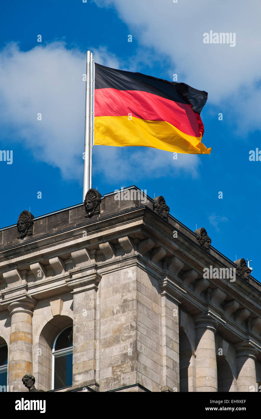 Bundestag with german flag, Parliament Berlin, Germany, Europe - Stock Image