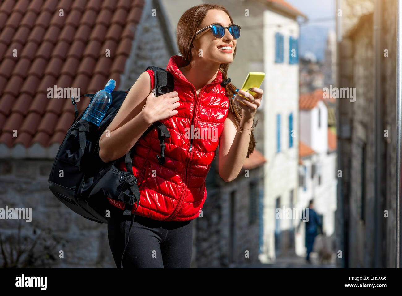 Young traveler in the city Stock Photo