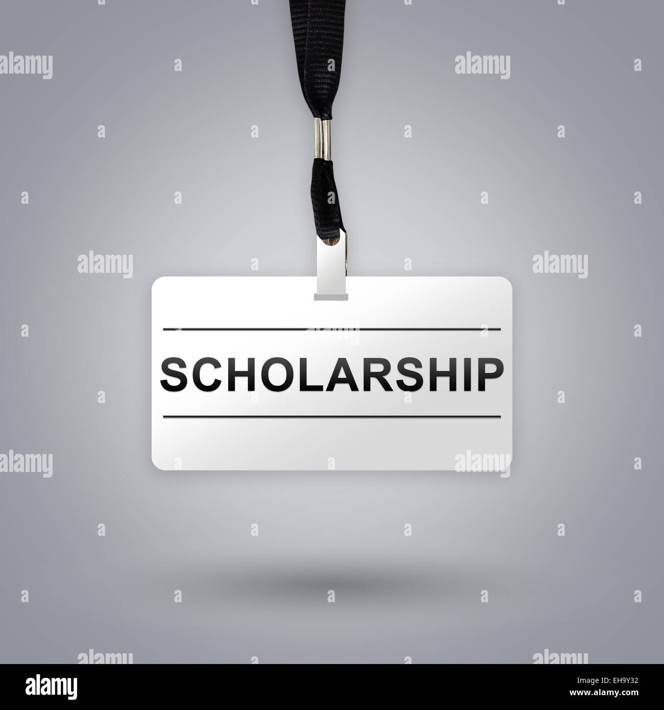scholarship on badge with grey radial gradient background - Stock Image