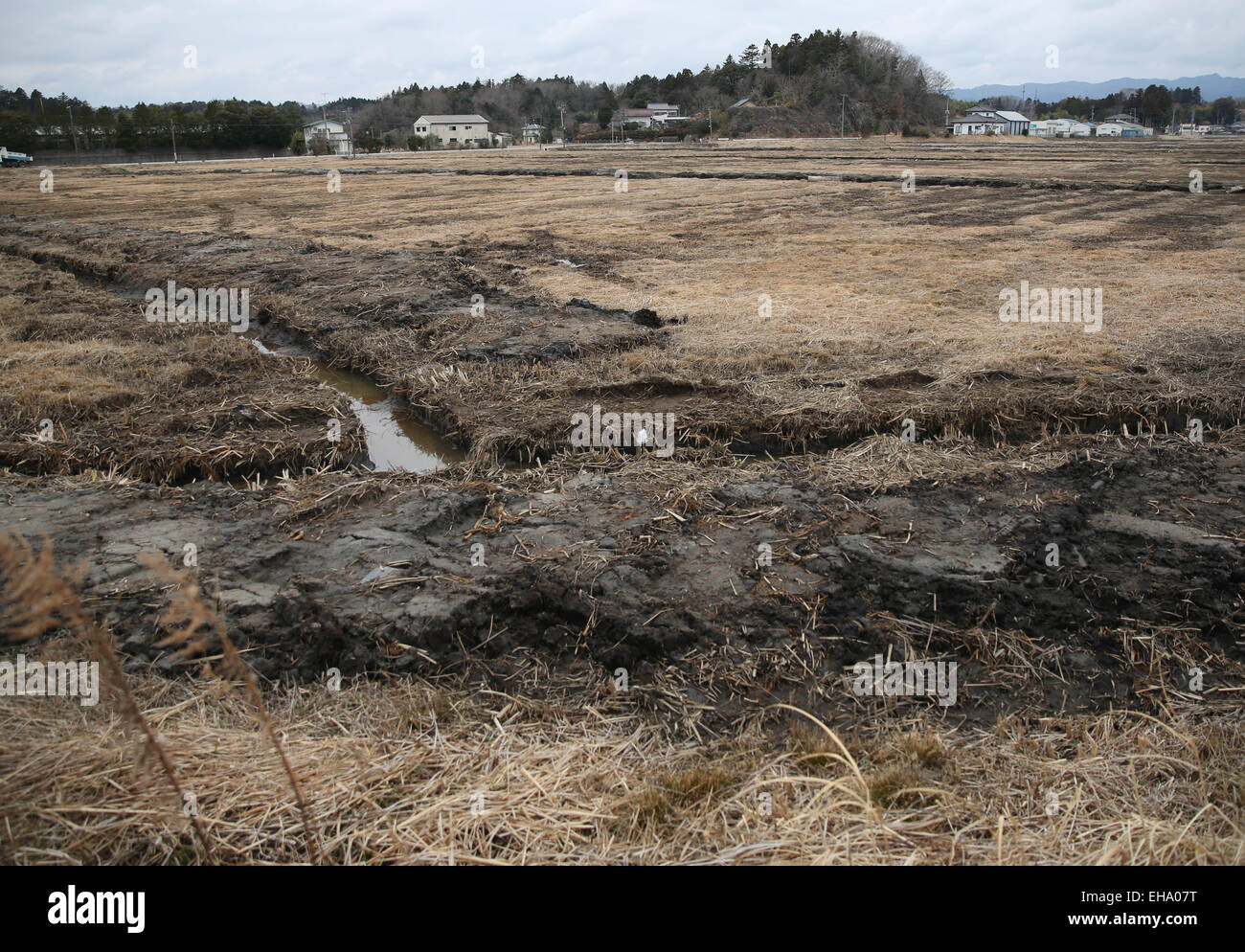 (150310) -- FUKUSHIMA, March 10, 2015 (Xinhua) -- Damaged fields and houses are seen in the Futaba District, located - Stock Image