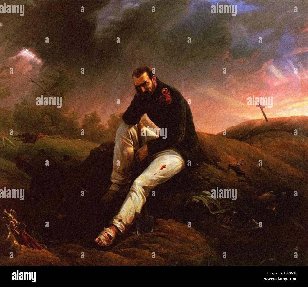 Horace Vernet  The Last Grenadier of Waterloo - Stock Image