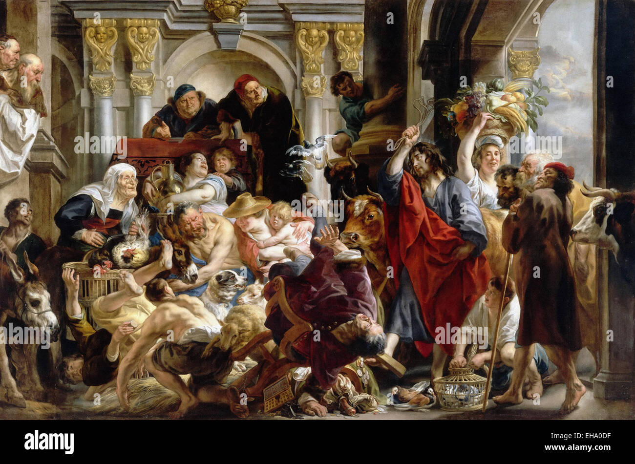 Jacob Jordaens  Jesus Driving the Merchants from the Temple - Stock Image