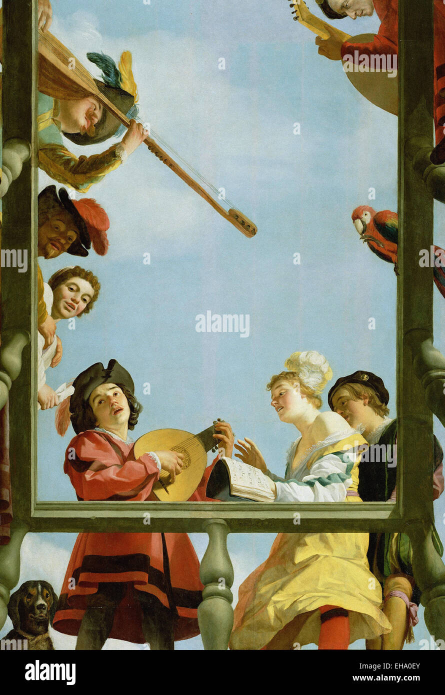 Gerrit van Honthorst  Musical Group on a Balcony - Stock Image