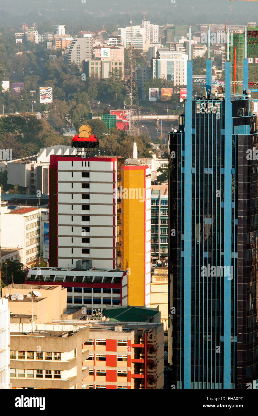 Aerial view of Nairobi CBD buildings looking west, Kenya - Stock Image