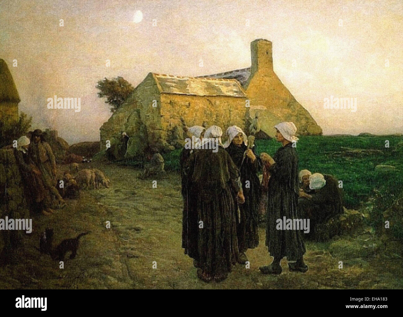 Jules Breton  Evening in the Hamlet of Finistère - Stock Image