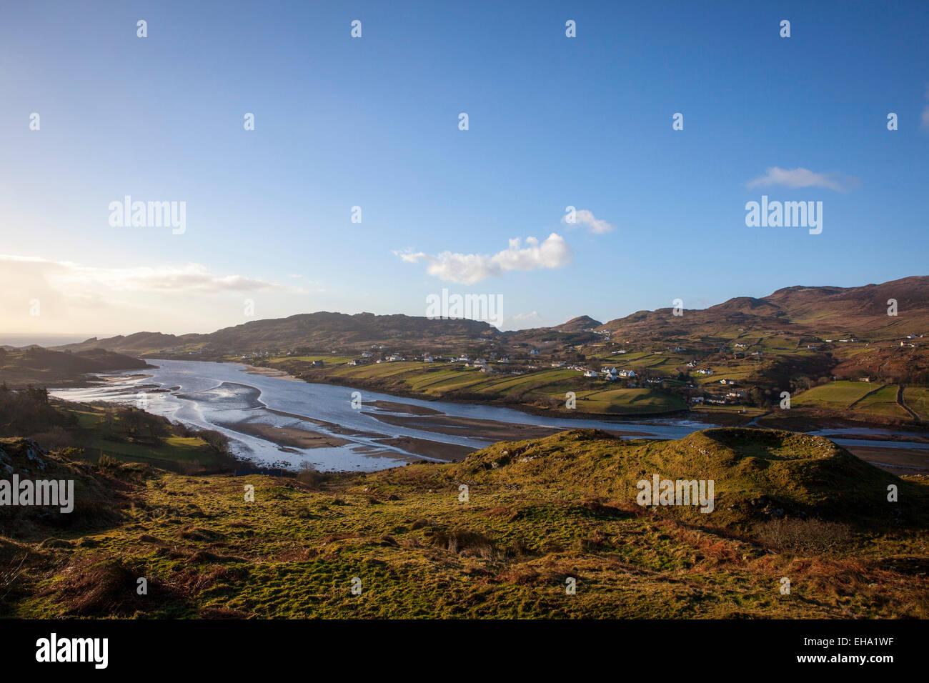 Ringfort overlooking Teelin Bay, near Carrick, Donegal, Ireland - Stock Image