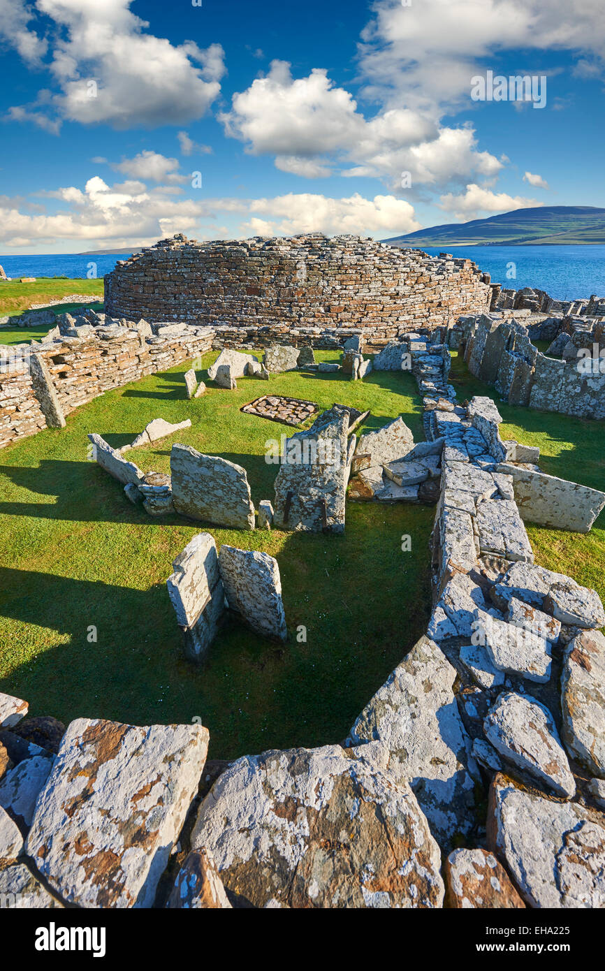 The Broch of Gurness  village dating from 500 to 200BC , Mainland Orkney, Scotland. Stock Photo