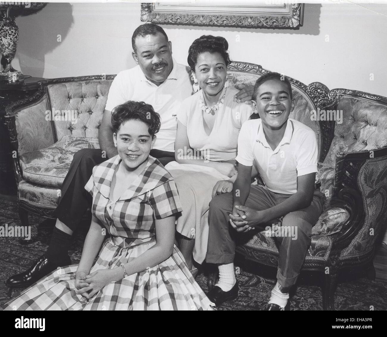 JOE LOUIS with his family at home in Los Angeles wife Martha