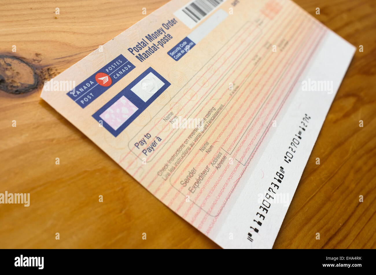 A Blank Postal Money Order Shown At The Post Office In Englishtown Stock Photo Alamy