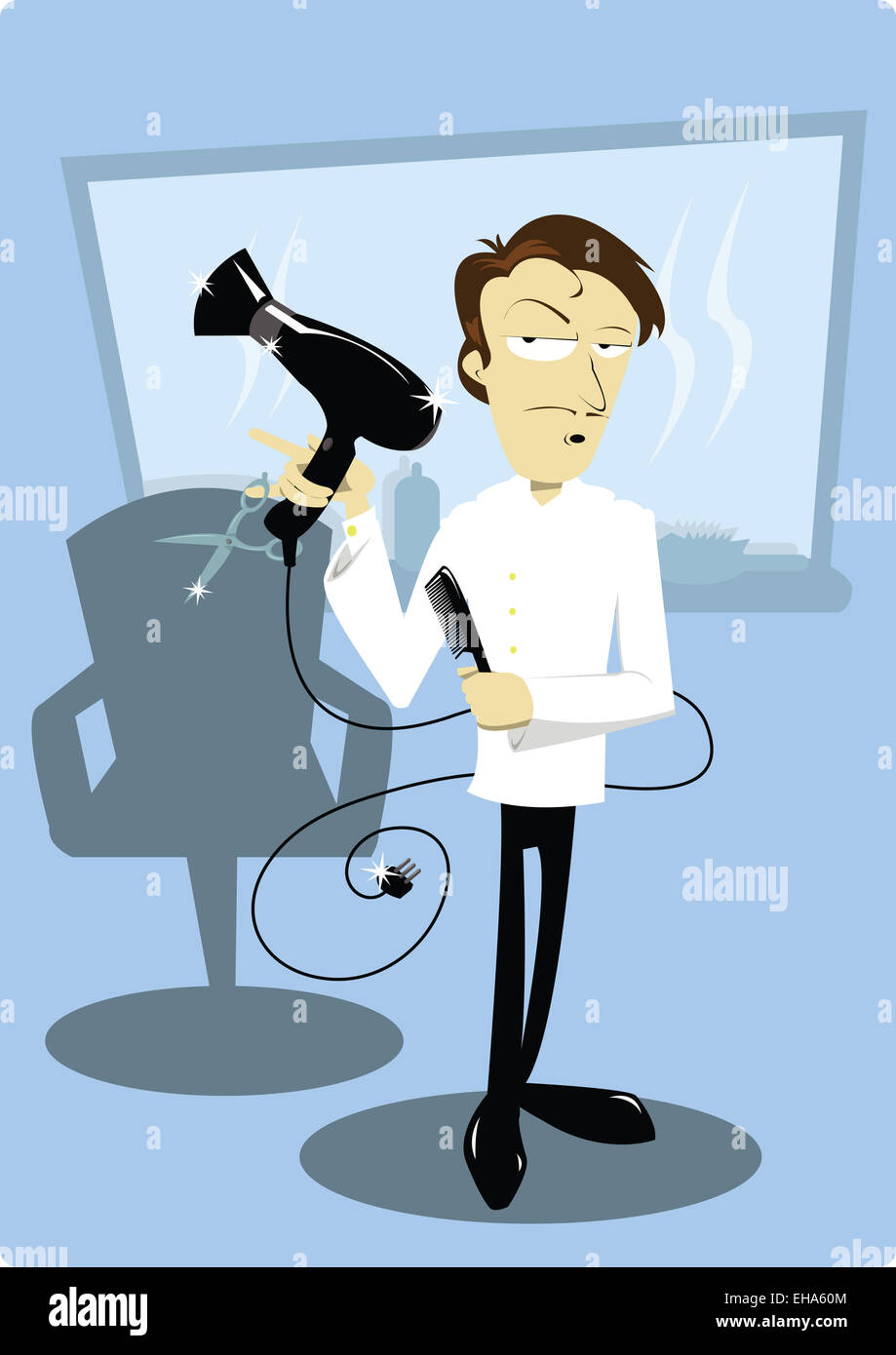 A Vector Cartoon Showing A Funny Coiffeur In His Hair Salon Stock Photo Alamy
