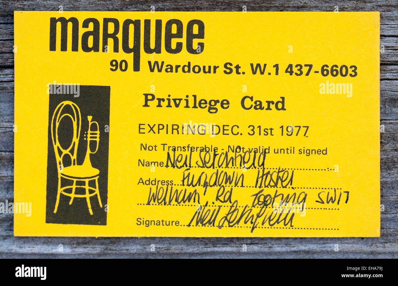 Privilege Membership Card to the Marquee Club in Wardour Street London 1977 - Stock Image