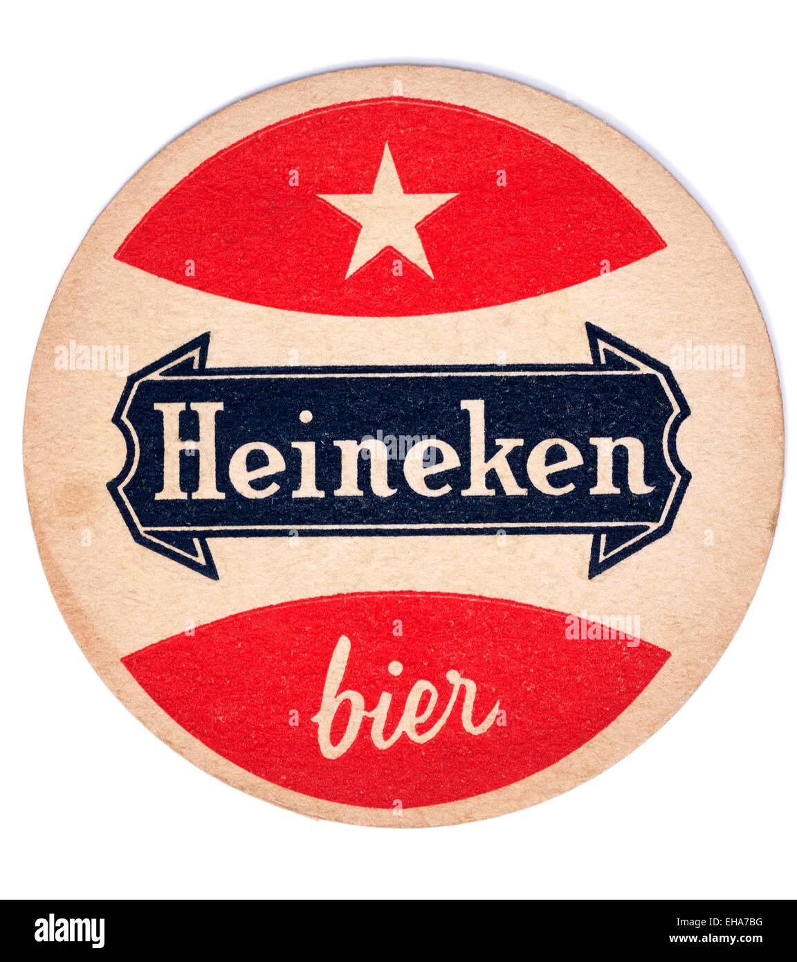 Vintage Beermat Advertising Heineken Bier - Stock Image