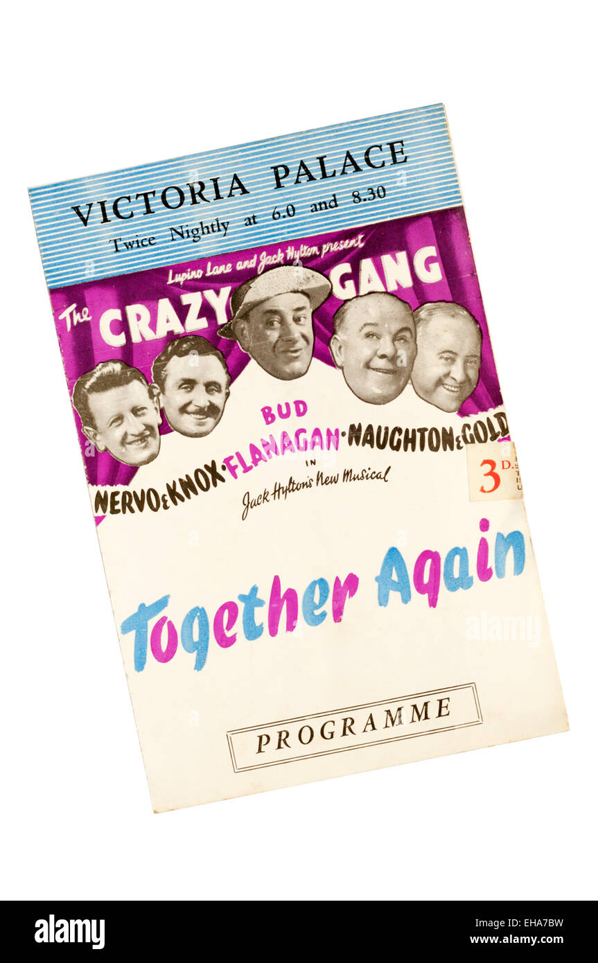 Programme for the 1947 production of The Crazy Gang in Together Again at the Victoria Palace Theatre. - Stock Image