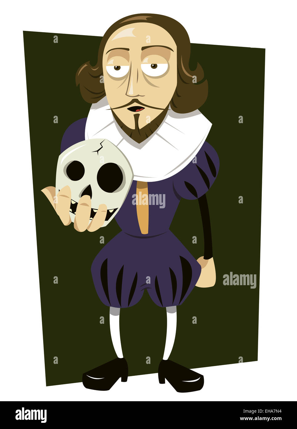 a vector cartoon representing William Shakespeare, asking himself to - Stock Image