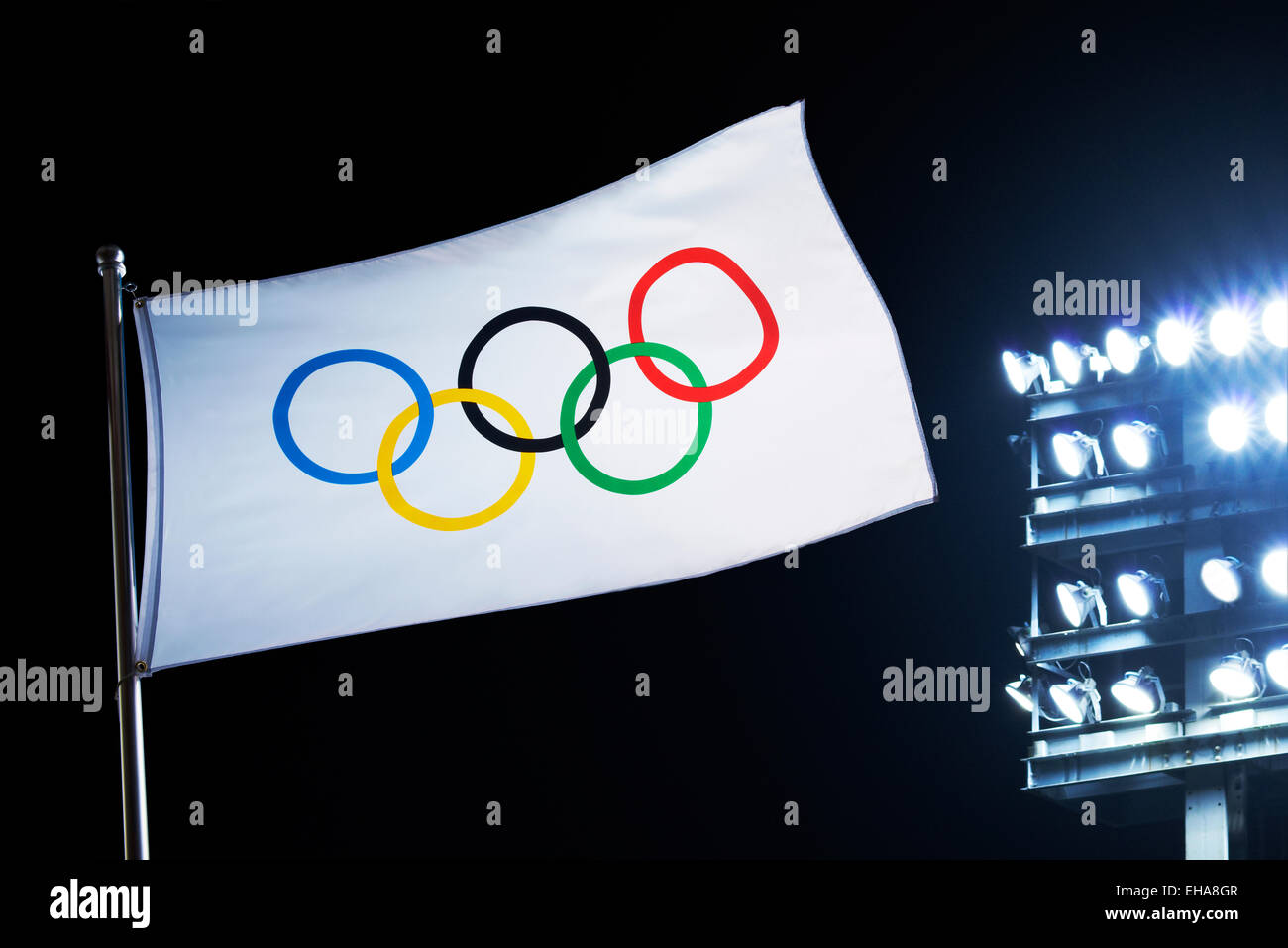 The Olympic Flag Stock Photo