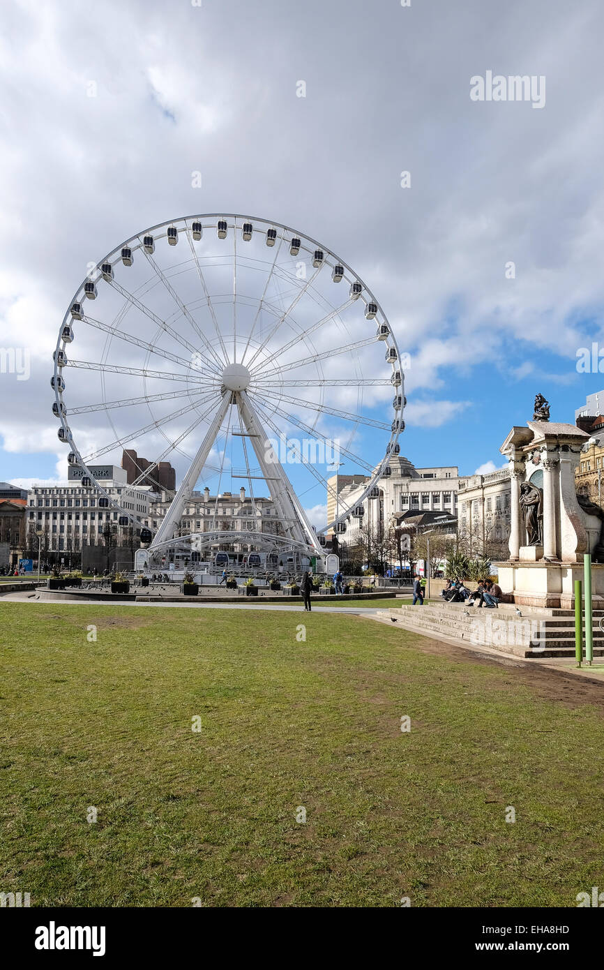 Manchester, England: Big Wheel, Piccadilly Gardens - Stock Image