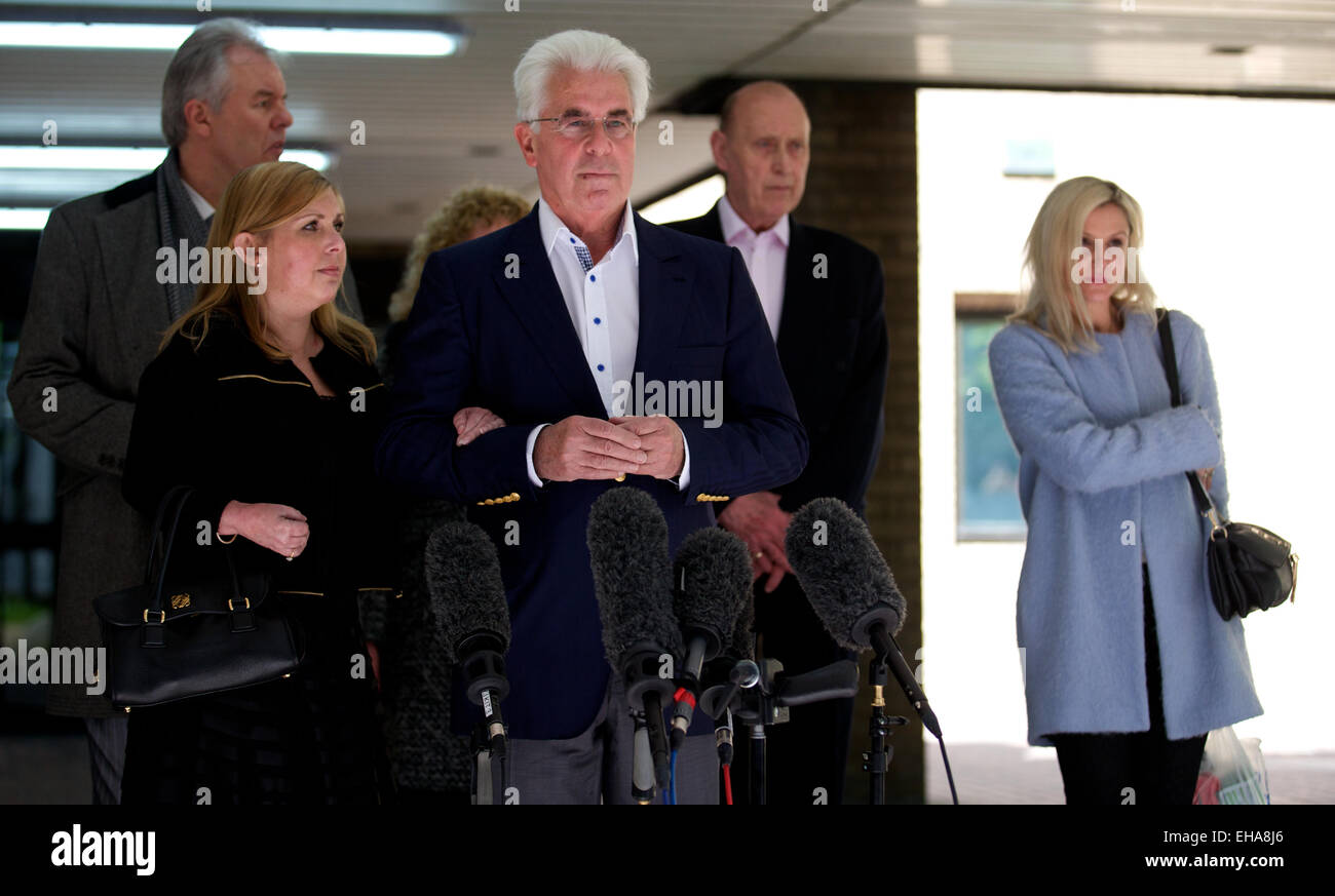 UNITED KINGDOM, London : Publicist Max Clifford arrives at Southwark Crown Court in central London, The jury has - Stock Image