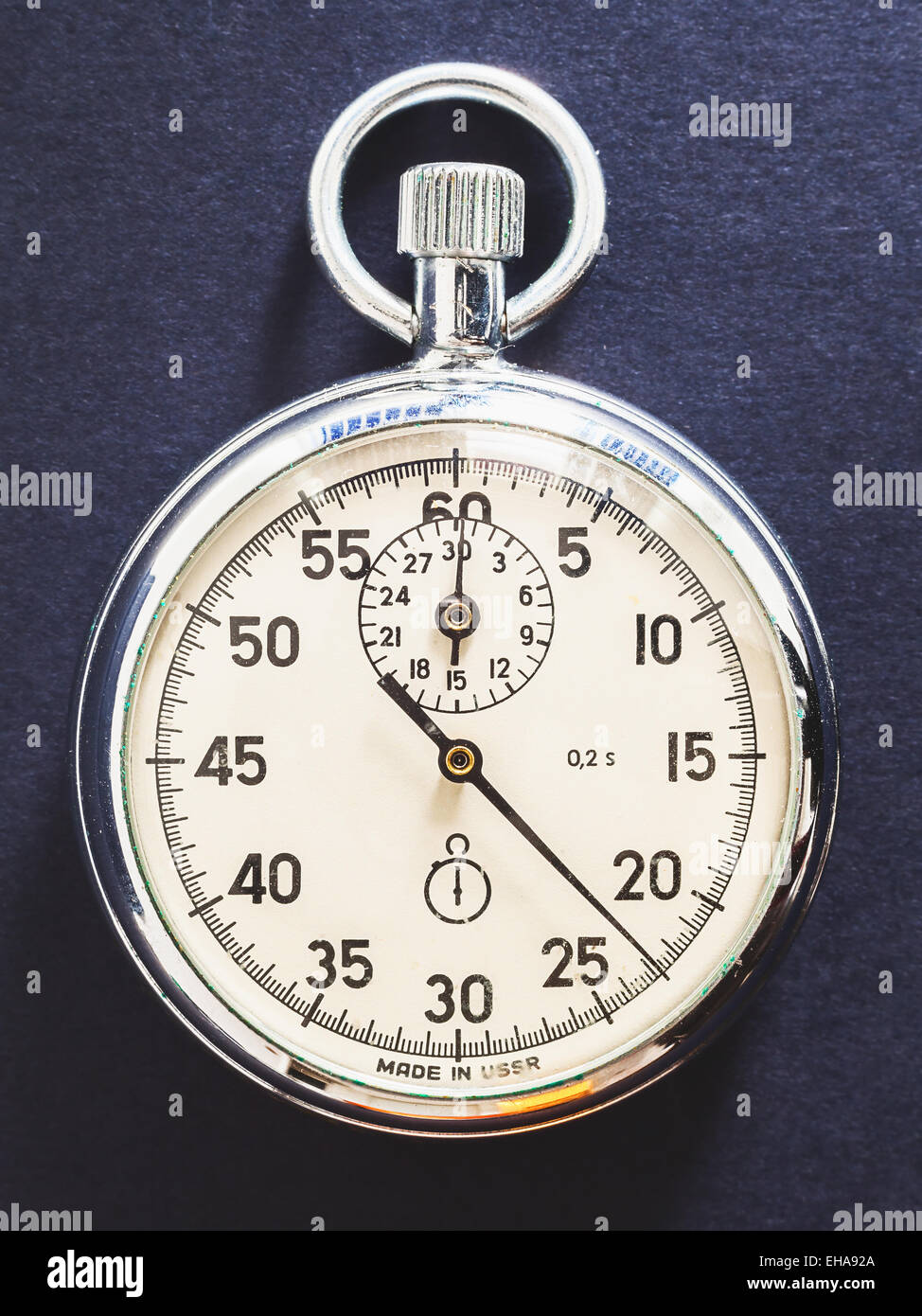Details of an old, retro style, Russian stopwatch. - Stock Image