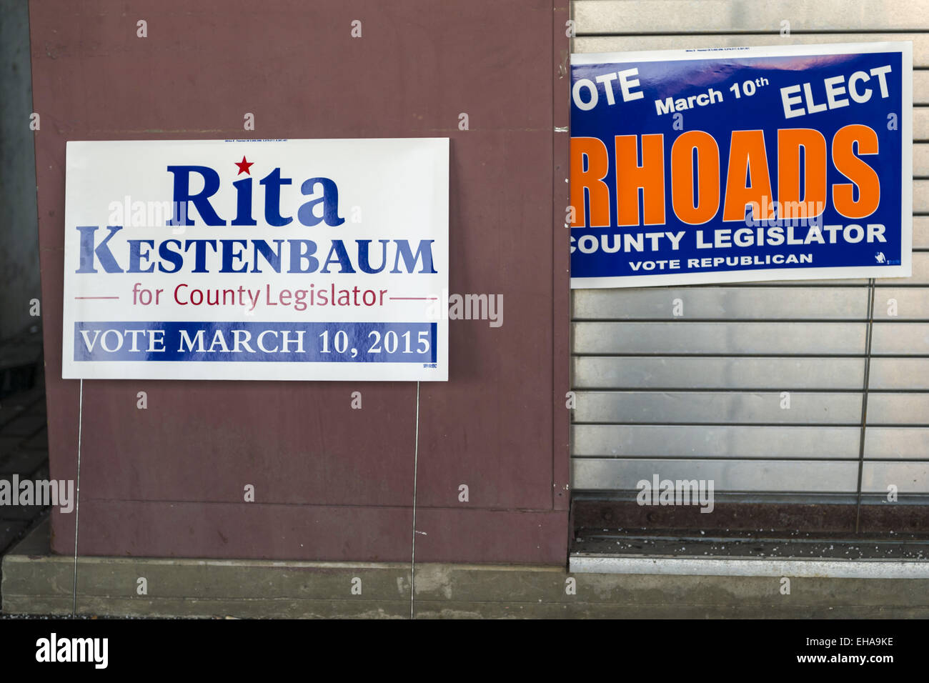 Merrick, New York, USA. 9th Mar, 2015. Political signs for Nassau County Legislator 19th District candidates, Rita Stock Photo